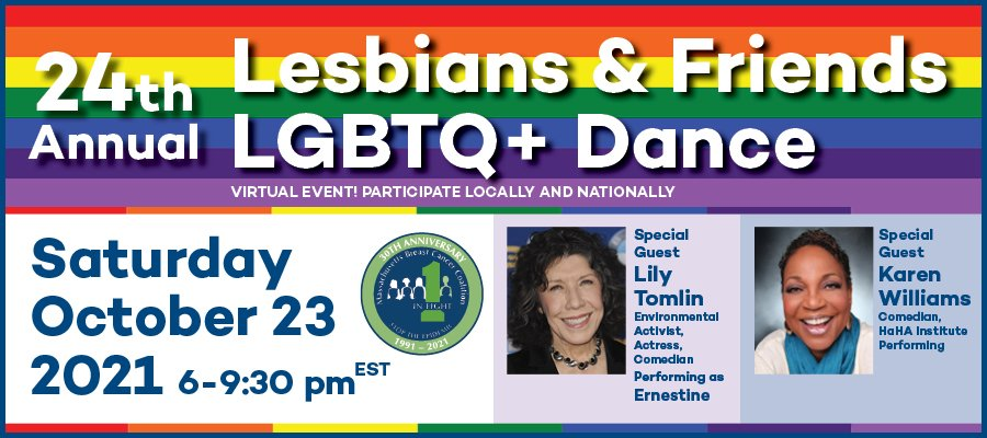 Poster to promote the 2021 Lesbians & friends LGBTQ+ Dance