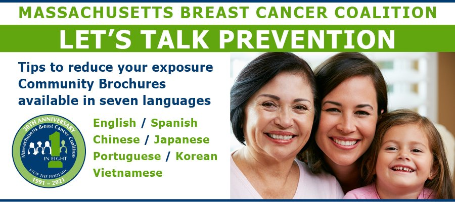 MBCC Let's Talk Prevention Tips to reduce your exposure community brochures available in seven languages