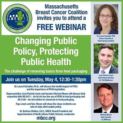 Poster for a Webinar on May 4, 2021 regarding changing public policy and protecting public health.